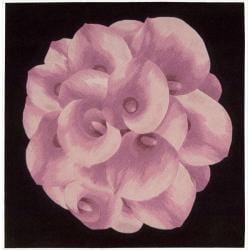 Nourison Hand Tufted Pink Floral Art Wool Rug (3' x 3')