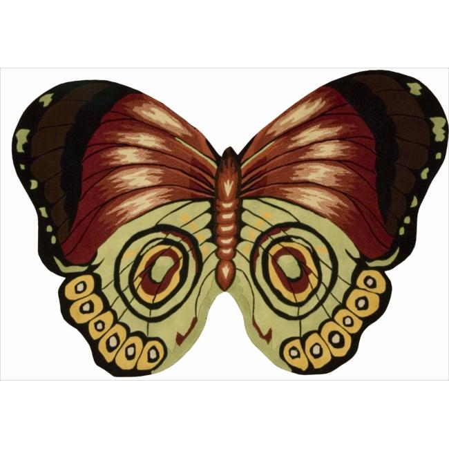 Nourison Hand Tufted Red Butterfly Wool Rug ( 2'6 x 4')