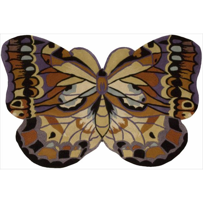 Nourison Hand-Tufted Multicolored Novelty Butterfly Wool Rug (4' x 6')