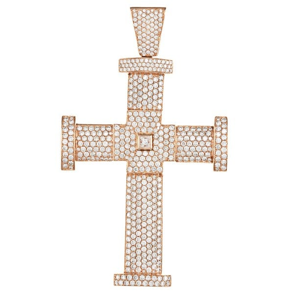 Pre-owned 14k Gold 14 1/5ct TDW Diamond Jacob & Co. Cross Estate Pendant (F-G, VS1-VS2)