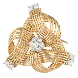 18k Yellow Gold 1 1/2ct TDW 1960?s Cartier Estate Brooch (G-H, VS1-VS2)