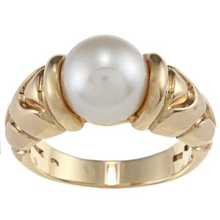 Bvlgari 18k Yellow Gold Freshwater Pearl 'Parentesi' Estate Ring (9 mm)