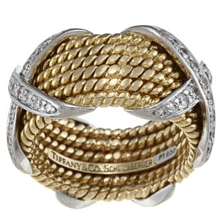 Tiffany 18k Gold and Platinum 3/4ct TDW Diamond Rope Ring (G-H, VS1-VS2)
