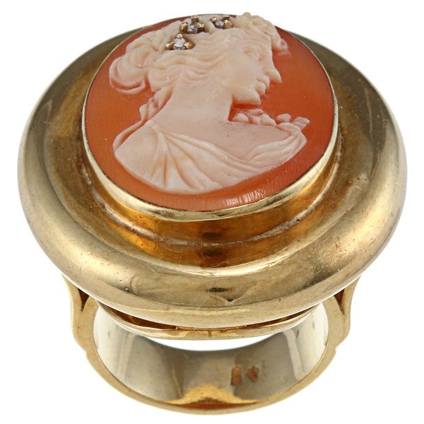 Pre-owned 18K Gold 1/10ct TDW Diamond Antique Cameo Estate Ring (H-I, SI1-SI2)