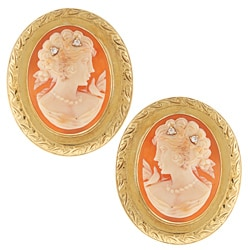 18k Yellow Gold 1/10 TDW Diamond Cameo Estate Earrings (H-I, SI1-SI2)