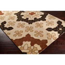 Smithsonian Hand-tufted Tan Konya Medallion Wool Rug (8' x 11')