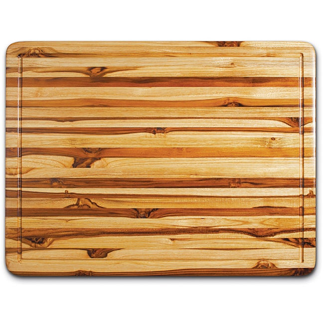 Proteak Rectangle Teak Cutting Board with Hand Grip and Juice Canal