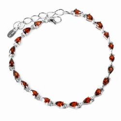 De Buman Sterling Silver Garnet Bracelet