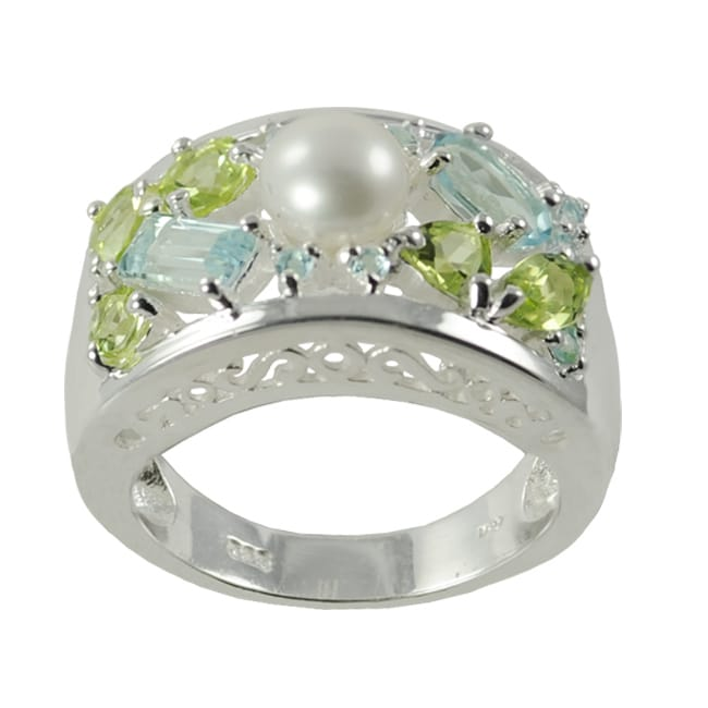 Pearls For You Silver FW Button Pearl, Peridot and Blue Topaz Ring