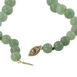 Gems For You 14k Gold Graduated Jade Bead Necklace