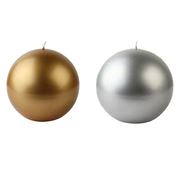 3 Inch Metallic Ball Candles (Case of 36)