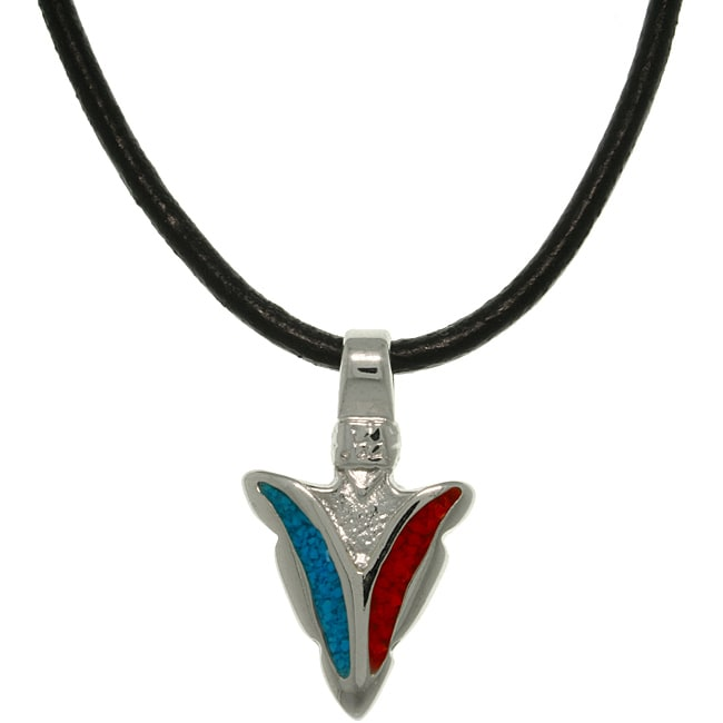 CGC Pewter Unisex Turquoise and Red Stone Polished Arrowhead Necklace