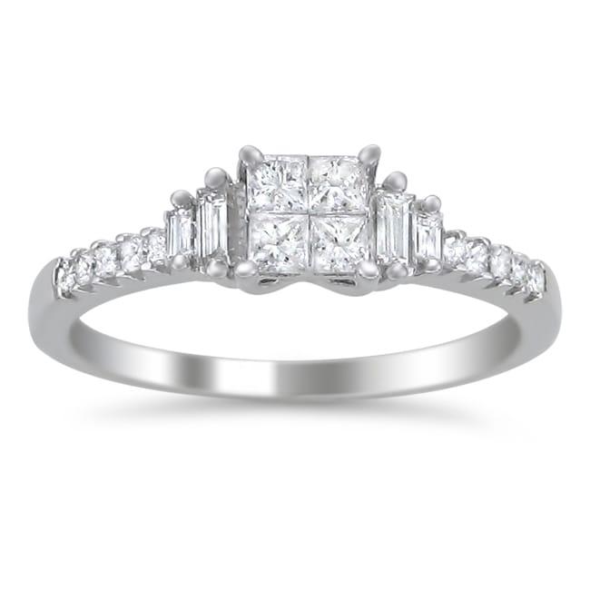 Montebello 14k White Gold 5/8ct TDW Diamond Composite Engagement Ring (H-I, I1-I2)