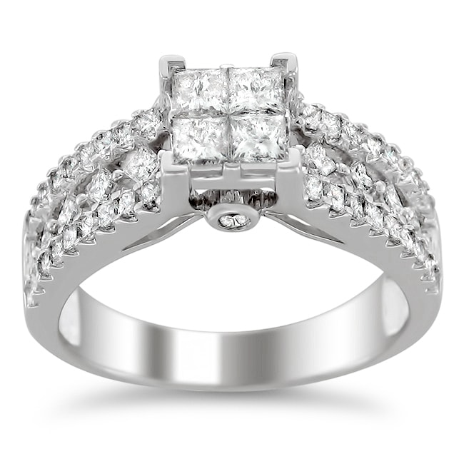 14k White Gold 1 1/5ct TDW Diamond Composite Engagement Ring (H-I, I1-I2)