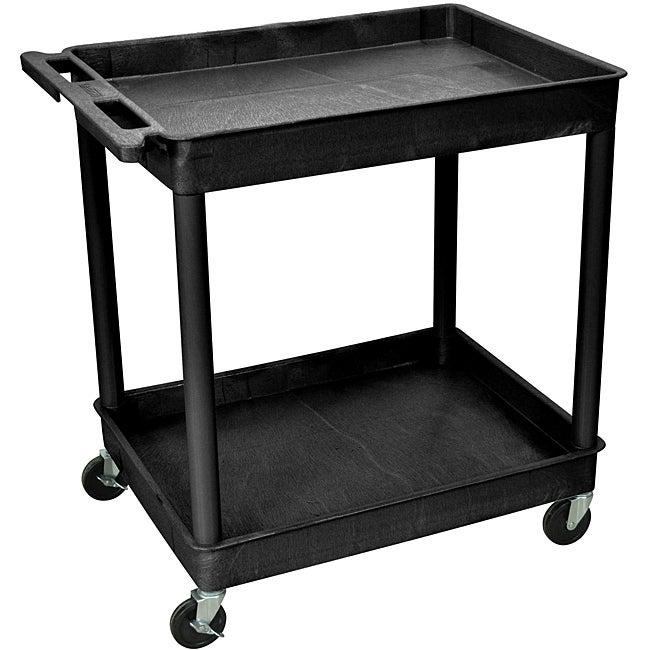 Offex 2-Shelf Tub Black Utility Cart