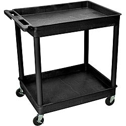 Offex 2-Shelf Tub Black Utility Cart