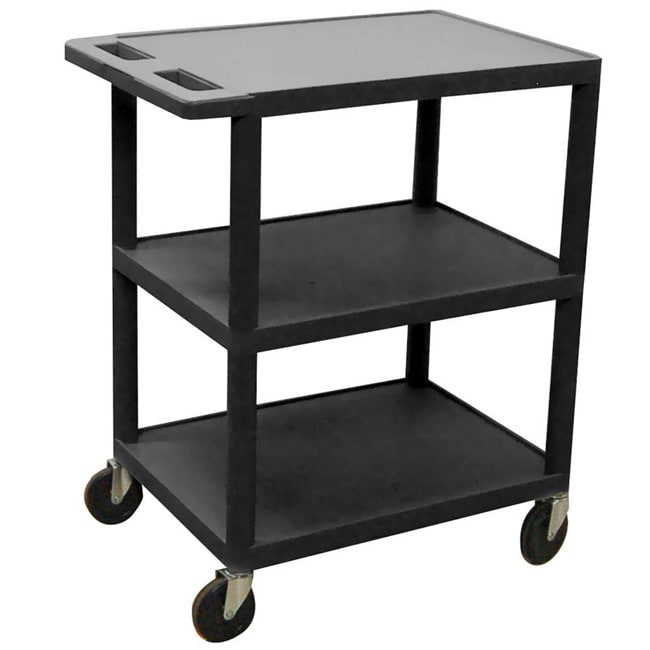 Offex Black 3-shelf Utility Cart with Swivel Casters