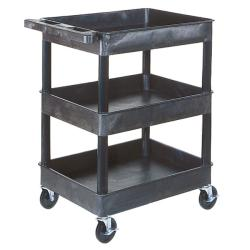 Offex Black 3-Shelf Tub Utility Cart