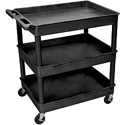 Offex 3 Shelf Tub Utility Cart 32 W x 24 D Black