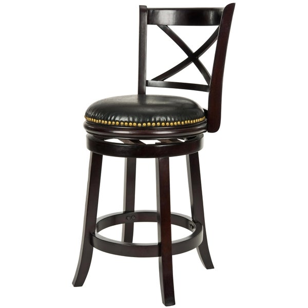 Safavieh 24-inch Ulster X-Back Cappuccino Finish Counter Stool