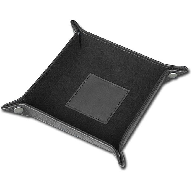 Dacasso Black Crocodile Embossed Leather Change Tray