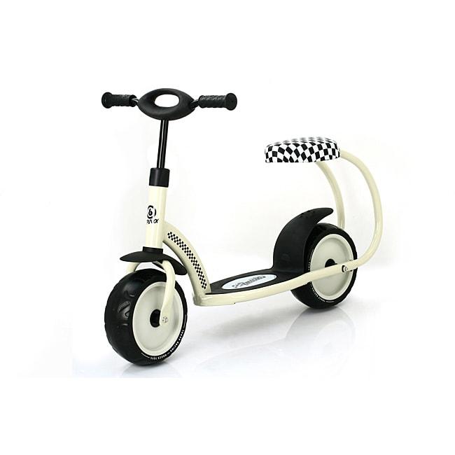 Traxx 'Besta' Cream-white Padded-seat Scooter with Rear-fender Brake