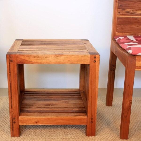 Handmade Teak Slat 18 x 16 x 18 Walnut Oil Finished End Table with Shelf (Thailand)