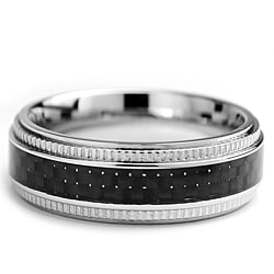 Oliveti Stainless Steel Men's Black Carbon Fiber and Milligrain Band (7 mm)