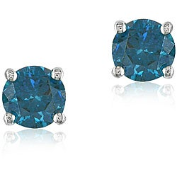 Miadora 14k White Gold 3/4ct TDW Blue Diamond Solitaire Stud Earrings