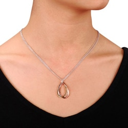M by Miadora Tri-color Gold over Silver Diamond Accent Teardrop Necklace