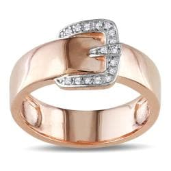 M by Miadora 18k Pink Gold over Silver Diamond Accent Buckle Ring
