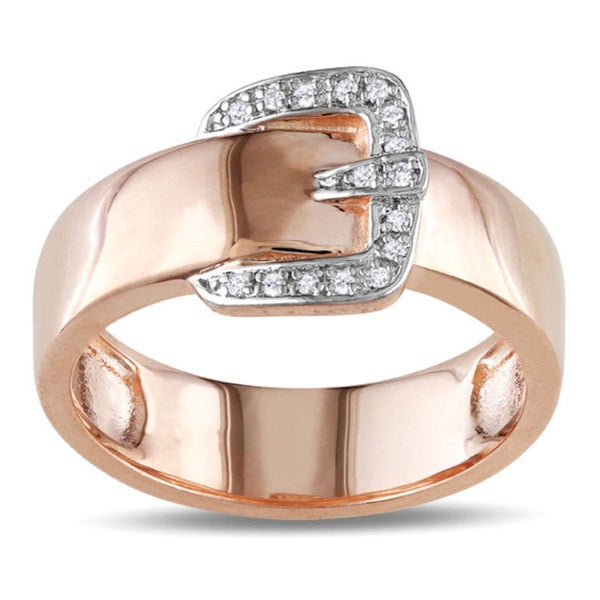 18k Pink Gold over Silver Diamond Accent Buckle Ring