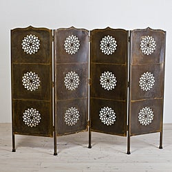 Lotus Black Lacquer Four-Panel Screen (India)