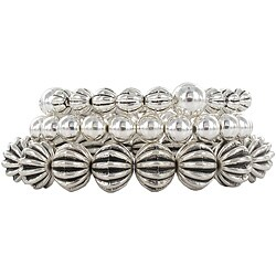 Roman Silvertone Beaded Stretch Bracelets (Set of 3)