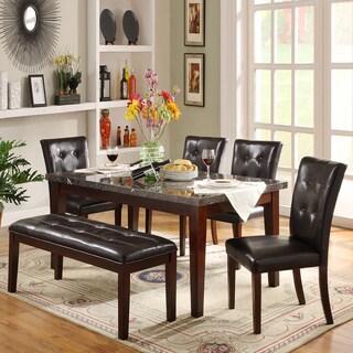 TRIBECCA HOME Colyton Rich Espresso Dark Marble 6-piece Casual Dining Set