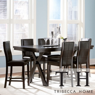 TRIBECCA HOME Dartford Espresso 7-piece Contoured Counter Set