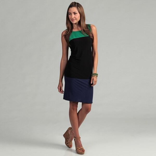 Tiana B Women's Black Multi Colorblock Dress FINAL SALE