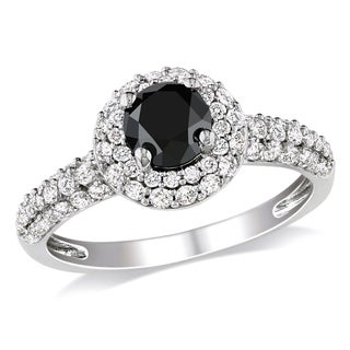 Miadora 10k White Gold 1 1/3ct TDW Black and White Diamond Halo Ring (H-I, I2-I3) with Bonus Earrings