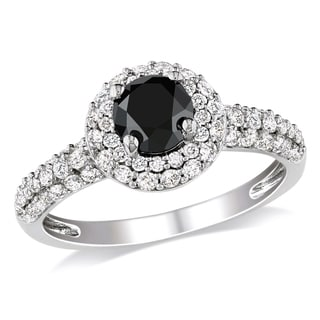 Miadora 10k White Gold 1 1/3ct TDW Black and White Diamond Halo Ring (H-I, I2-I3)