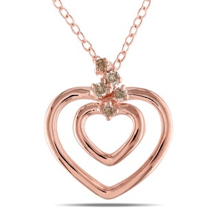 Haylee Jewels 18k Pink Gold over Silver Brown Diamond Accent Heart Necklace