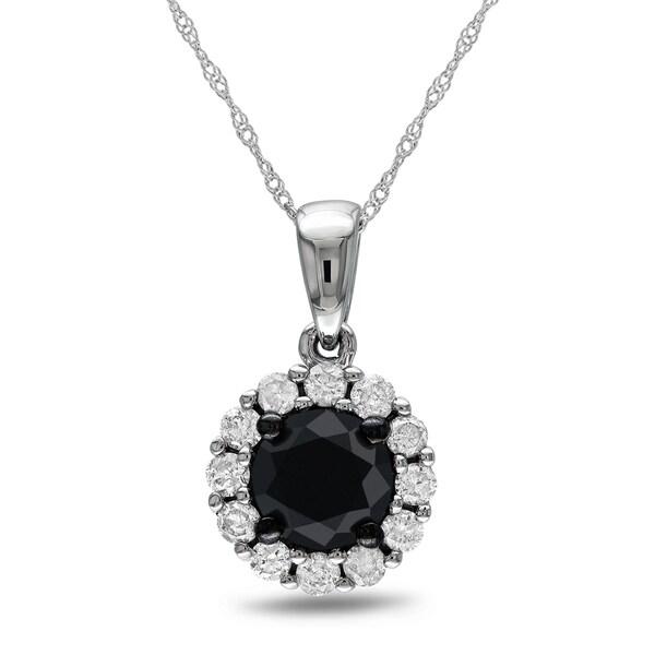 Miadora 14k White Gold 1ct TDW Black and White Diamond Necklace (H-I, I2-I3)