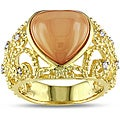 Miadora 18k Gold Over Silver 7 1/2ct TGW Moonstone 1/10ct TDW Ring (H-I, I3)