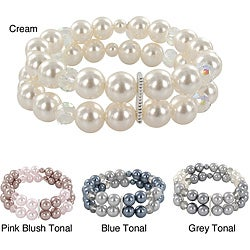 Roman Colored Faux Pearl and Faceted Bead 2-row Stretch Bracelet
