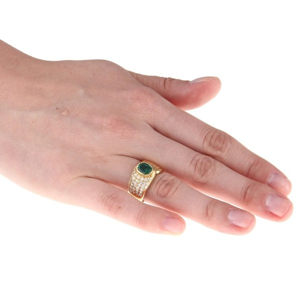18k Gold Chatham Emerald and 3/5ct TDW Diamond Estate Ring (H-I, SI1-SI2)