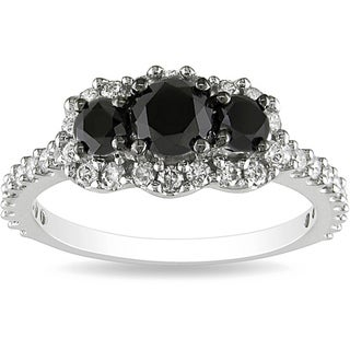 Miadora 10k White Gold 1ct TDW Round-cut Black and White Diamond Ring (H-I, I2-I3)