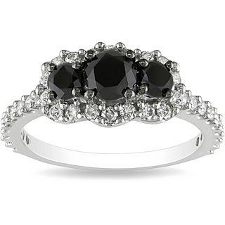 Miadora 10k White Gold 1ct TDW Round-cut Black and White Diamond Ring (H-I, I2-I3)