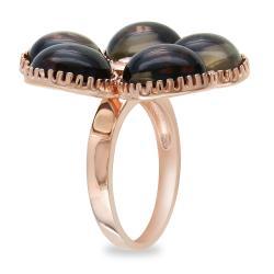 Miadora 18k Pink Gold over Silver Smokey Quartz and Diamond Accent Ring