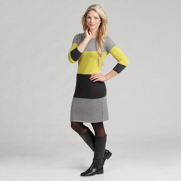 Calvin Klein Women's Color Block Striped Sweater Dress
