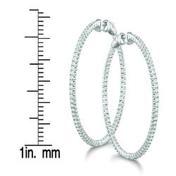 14k White Gold 1 2/5ct TDW Diamond Prong Hoop Earrings (H-I, I1-I2)
