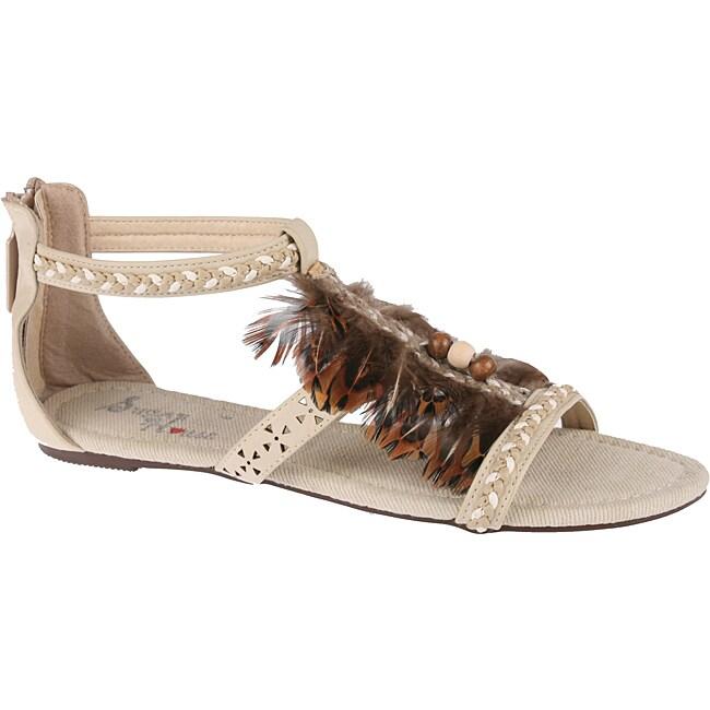 Elegant by Beston Women's 'Elisa-3' Beige Feather Gladiators